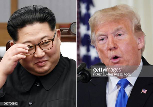 This combination of pictures created on November 12 2018 shows North Korea's leader Kim Jong Un during the InterKorean summit in the Peace House...