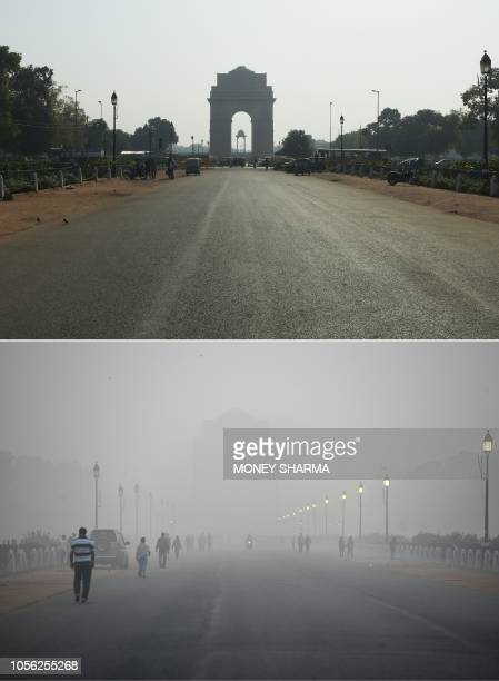 This combination of pictures created on November 2 2018 shows the India Gate monument in New Delhi on September 19 2018 and India Gate amid heavy...