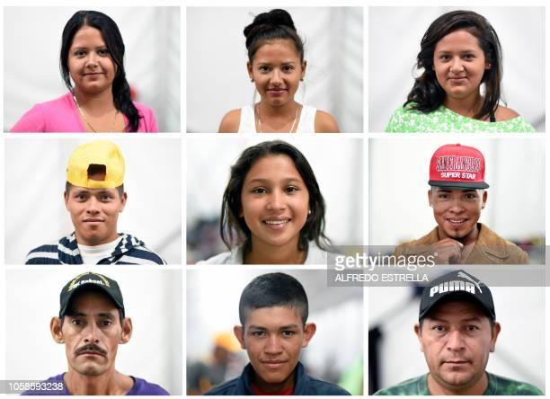 This combination of pictures created on November 7 2018 shows Honduran migrants Sindy Pineda Yojana Pineda Jacqui Pineda Angel Lemus Sonia Garcia...