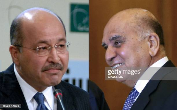 This combination of pictures created on October 01 2018 shows a photo taken on December 13 2008 of then Iraqi deputy prime minister Barham Saleh and...