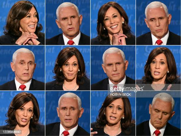 This combination of pictures created on October 07, 2020 shows US Democratic vice presidential nominee and Senator from California Kamala Harris and...