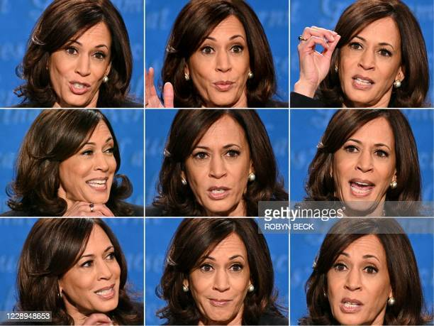 This combination of pictures created on October 07, 2020 shows US Democratic vice presidential nominee and Senator from California Kamala Harris...