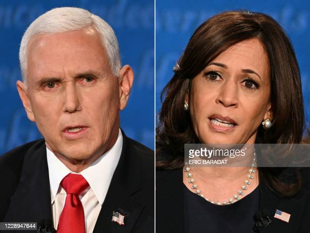 This combination of pictures created on October 07 2020 shows US Vice President Mike Pence and US Democratic vice presidential nominee and Senator...