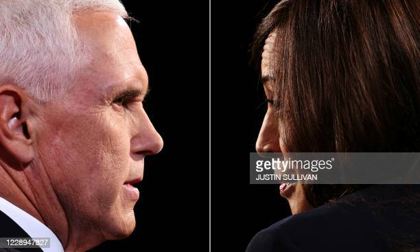 This combination of pictures created on October 07, 2020 shows US Vice President Mike Pence and Democratic vice presidential nominee and Senator from...