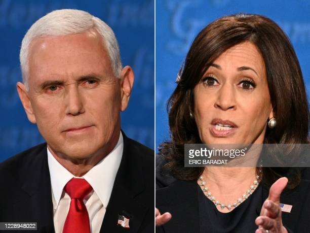 This combination of pictures created on October 07, 2020 shows US Vice President Mike Pence and US Democratic vice presidential nominee and Senator...