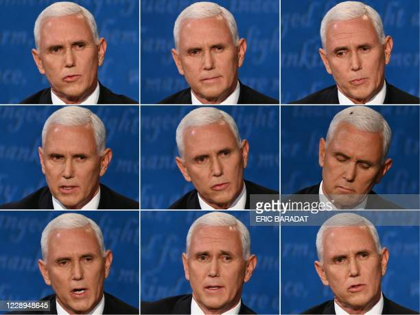 This combination of pictures created on October 07, 2020 shows US Vice President Mike Pence during the vice presidential debate with US Democratic...