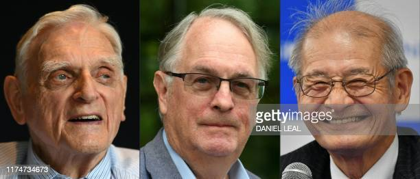 TOPSHOT This combination of pictures created on October 09 2019 shows American professor and solidstate physicist John Goodenough during a press...
