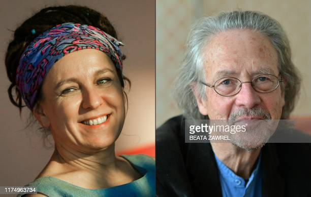 This combination of pictures created on October 10 2019 shows Polish author Olga Tokarczuk on September 17 2018 in Krakow and Austrian novelist and...
