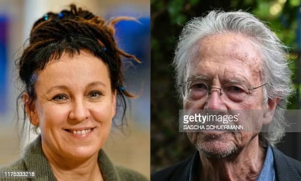 This combination of pictures created on October 11 2019 shows Polish author Olga Tokarczuk on October 10 2019 in Bielefeld western Germany and...