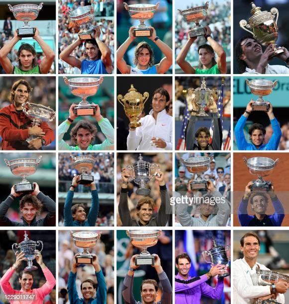 TOPSHOT This combination of pictures created on October 11 2020 shows Spain's Rafael Nadal posing with the trophies of his twenty Grand Slam...