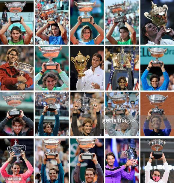 This combination of pictures created on October 11, 2020 shows Spain's Rafael Nadal posing with the trophies of his twenty Grand Slam victories on...