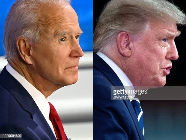 This combination of pictures created on October 15 2020 shows Democratic Presidential candidate and former US Vice President Joe Biden participates...