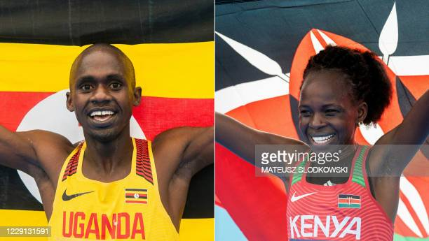 This combination of pictures created on October 17, 2020 shows Jacob Kiplimo of Uganda celebrating after winning the men's race and Peres Jepchirchir...