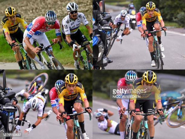 This combination of pictures created on October 18, 2020 shows from top Left to bottom right: Belgian Wout Van Aert of Team Jumbo-Visma, Dutch...