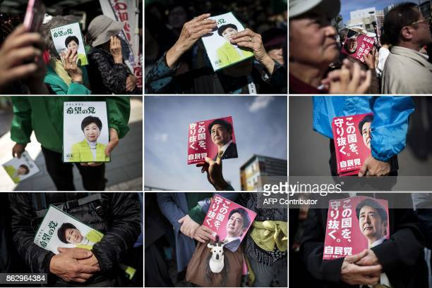 This combination of pictures created on October 19 2017 shows people holding electoral leaflets of Japan's Prime Minister and ruling Liberal...