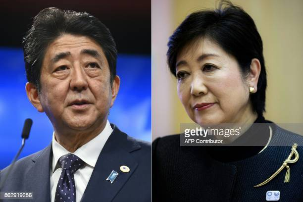 This combination of pictures created on October 19 2017 shows Japanese Prime Minister Shinzo Abe giving a press conference along with the European...