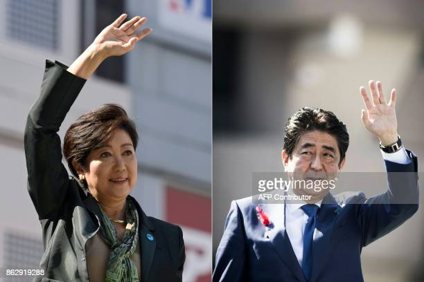 This combination of pictures created on October 19 2017 shows Tokyo Governor Yuriko Koike waving to the audience during an election campaign in Tokyo...