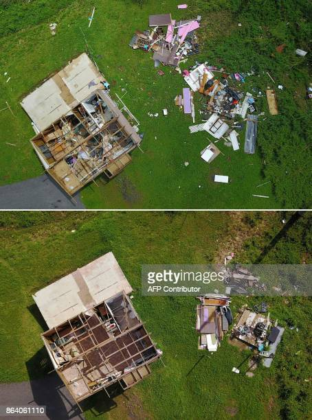 This combination of pictures created on October 20 2017 shows a house destroyed by hurricane winds in Barranquitas southwest of San Juan Puerto Rico...