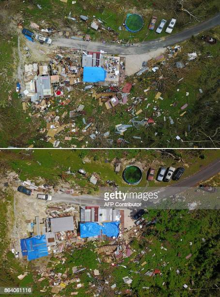 This combination of pictures created on October 20 2017 shows a house destroyed by hurricane winds in Corozal west of San Juan Puerto Rico on...