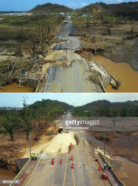 This combination of pictures created on October 20 2017 shows a man riding his bicycle through a damaged road in Toa Alta west of San Juan Puerto...