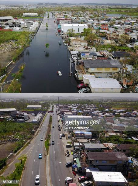 This combination of pictures created on October 20 2017 shows an aerial view of the flooded neighbourhood of Juana Matos in the aftermath of...