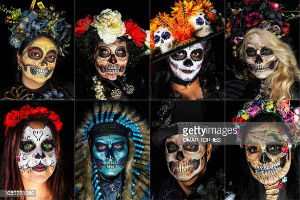 TOPSHOT This combination of pictures created on October 21 2018 shows Arlette Ortiz Jessica Esquivias Alejandria Copado and Jossy Javier and Victoria...