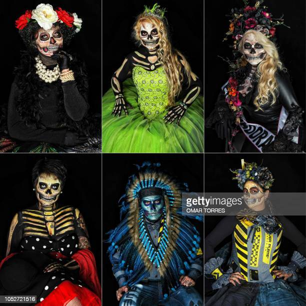 This combination of pictures created on October 21 2018 shows Jessica Esquivias Ingrid Lopez Garcia Jossy Javier and Gabriela Sanchez Donovan Sanchez...