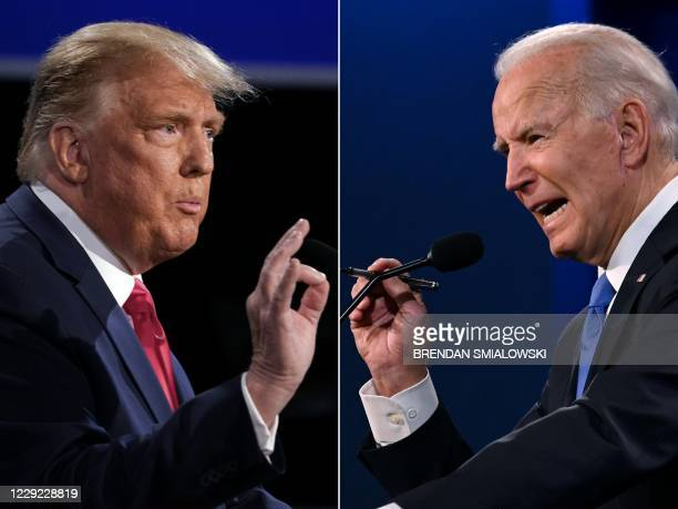 This combination of pictures created on October 22, 2020 shows US President Donald Trump and Democratic Presidential candidate and former US Vice...