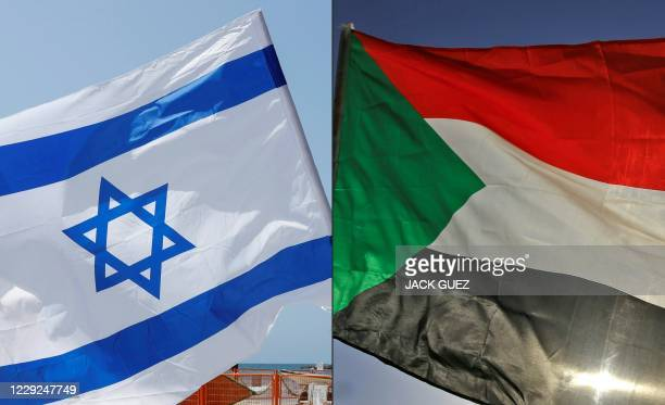 This combination of pictures created on October 23, 2020 shows an Israeli flag during a rally in the coastal city of Tel Aviv on September 19, 2020;...