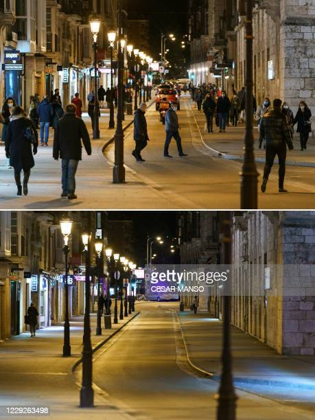 This combination of pictures created on October 24, 2020 shows a street in downtown Burgos, in Castilla and Leon region, before and after a curfew...