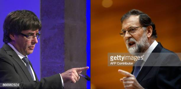 This combination of pictures created on October 27 2017 shows a file photo taken on October 02 2017 of Catalan president Carles Puigdemont during a...