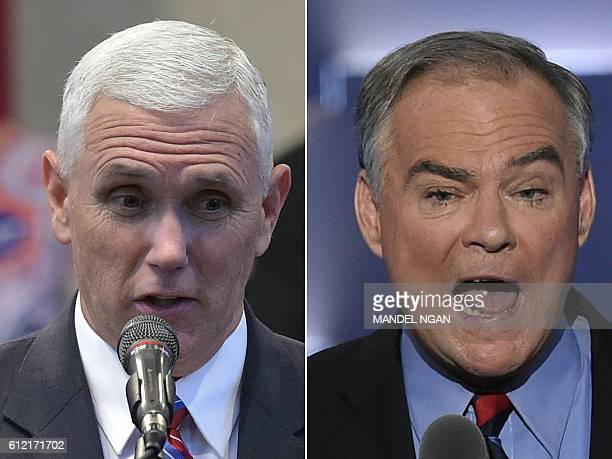 This combination of pictures created on October 3 2016 shows Republican Vice Presidential nominee and running mate Mike Pence speaking during the...