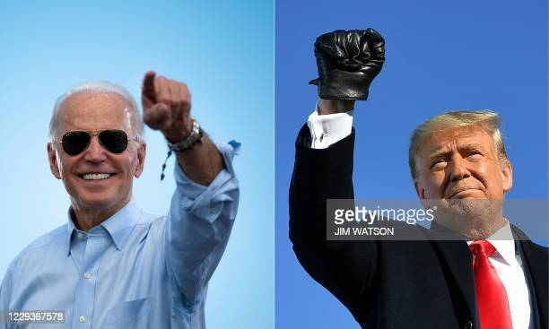 This combination of pictures created on October 30, 2020 shows Democratic Presidential candidate and former US Vice President Joe Biden gestures...