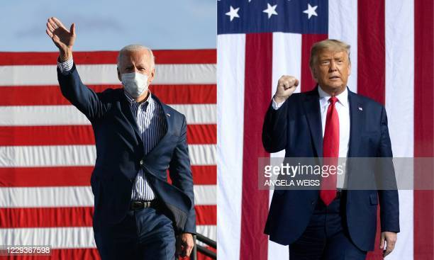 This combination of pictures created on October 30 2020 shows Democratic presidential nominee and former Vice President Joe Biden waves to supporters...