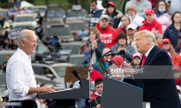 This combination of pictures created on October 30, 2020 shows Democratic Presidential Candidate Joe Biden speaks during a voter mobilization event...