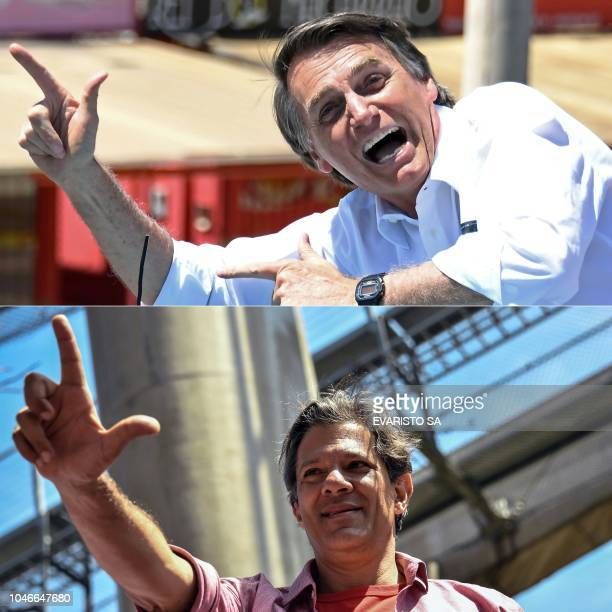 This combination of pictures created on October 4 2018 shows Brazilian presidential candidates Jair Bolsonaro for the Social Liberal Party in...
