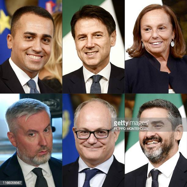 This combination of pictures created on September 05, 2019 shows Italy's Foreign Minister Luigi Di Maio, Italy's Prime Minister Giuseppe Conte,...