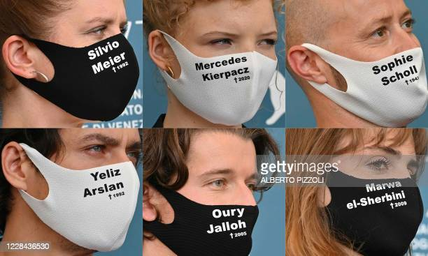 This combination of pictures created on September 10 2020 shows German director Julia von Heinz wearing a face mask with the name of murdered German...