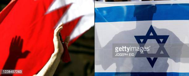 This combination of pictures created on September 11, 2020 shows a Bahraini man waving a national flag in the capital Manama on March 22 and an...