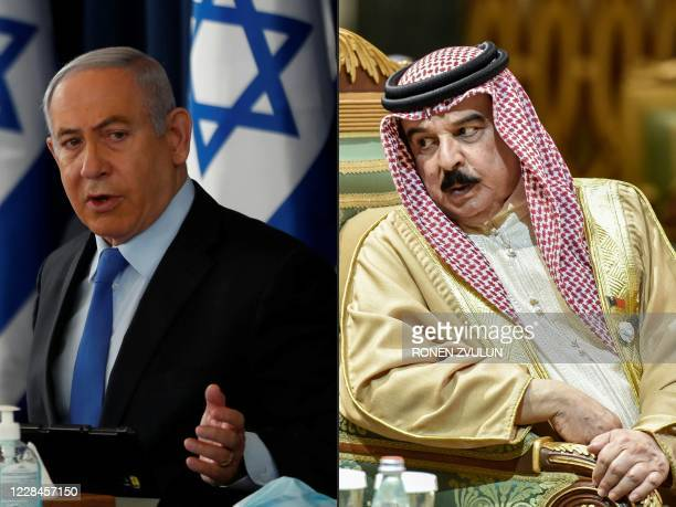 This combination of pictures created on September 11 2020 shows Israeli Prime Minister Benjamin Netanyahu chairing the weekly cabinet meeting in...