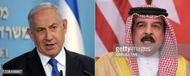 This combination of pictures created on September 11 shows Israeli Prime Minister Benjamin Netanyahu in Jerusalem on August 13 and Bahrain's King...