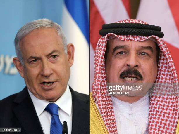 This combination of pictures created on September 12 shows Israeli Prime Minister Benjamin Netanyahu in Jerusalem on August 13 and Bahrain's King...