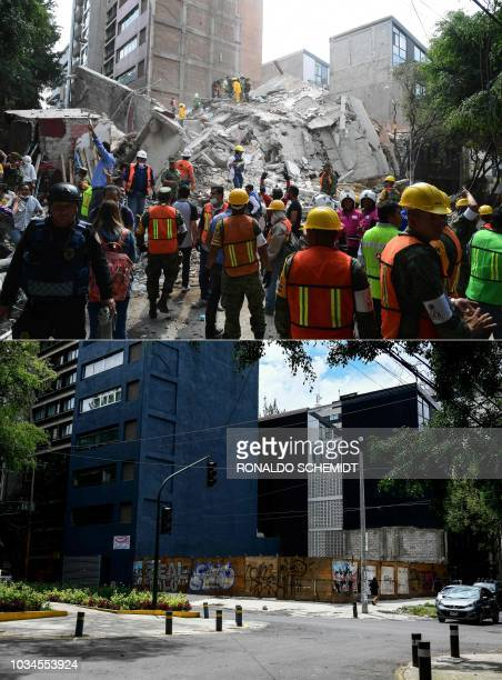 This combination of pictures created on September 13 2018 shows a file photo of rescuers firefighters policemen soldiers and volunteers removing...