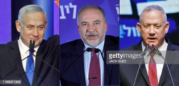 This combination of pictures created on September 18 2019 shows Israeli Prime Minister Benjamin Netanyahu addressing supporters in Tel Aviv early on...