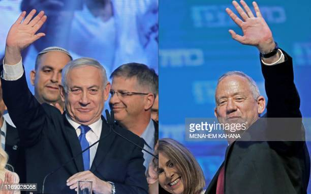This combination of pictures created on September 18 2019 shows Israeli Prime Minister Benjamin Netanyahu waving to supporters at his Likud party's...