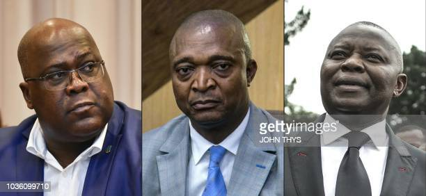 This combination of pictures created on September 19 2018 shows leader of the Democratic Republic of Congo's political party Union for Democracy and...