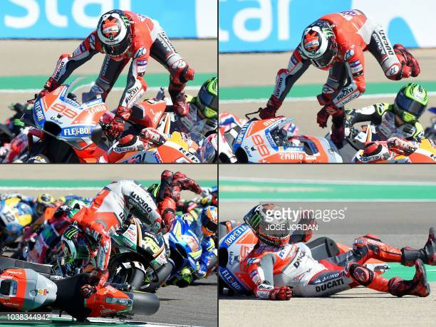 This combination of pictures created on September 23 2018 shows Ducati Team's Spanish rider Jorge Lorenzo falling during the MotoGP race of the Moto...