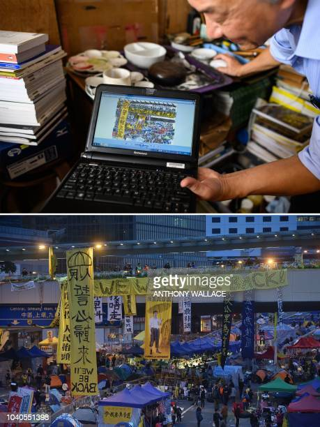 This combination of pictures created on September 26 2018 shows artist Fong So using his laptop to show an artwork he produced during the...