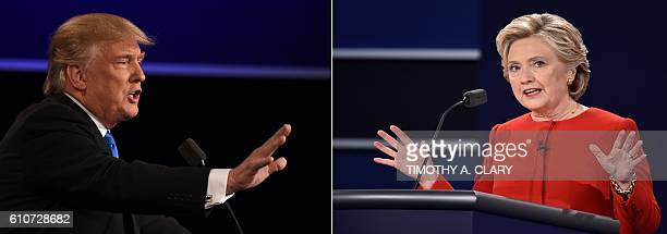 This combination of pictures created on September 27 2016 shows Democratic nominee Hillary Clinton speaking during the first presidential debate at...