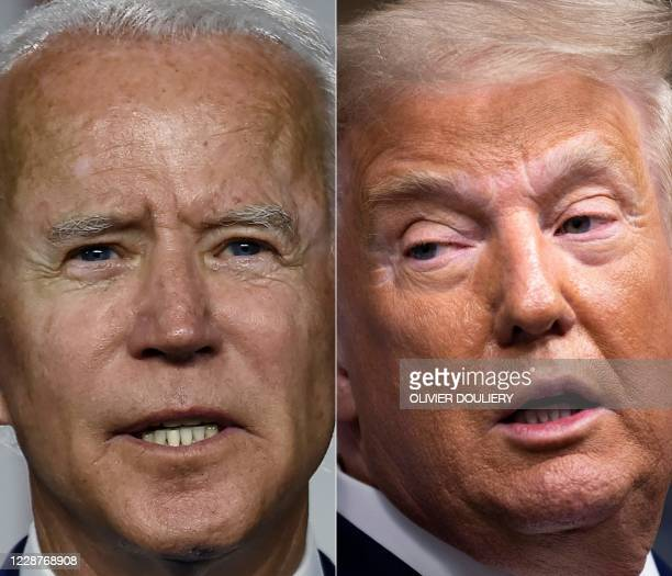 This combination of pictures created on September 28, 2020 shows Democratic presidential candidate and former Vice President Joe Biden speaking at a...